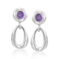 Zina Sterling Silver .40 ct. t.w. Amethyst Oval Link Drop Earrings, , default