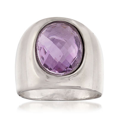 Italian 3.00 Carat Oval Amethyst Ring in Sterling Silver