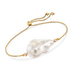 13-16mm Cultured Baroque Pearl Bolo Bracelet in 14kt Yellow Gold, , default