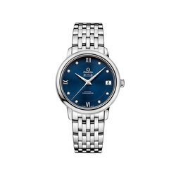 Omega De Ville Prestige Women's 32.7mm Stainless Steel Watch With Diamonds and Blue Dial , , default