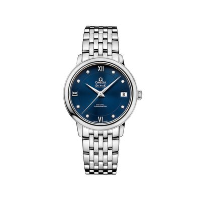 Omega De Ville Prestige Women's 32.7mm Stainless Steel Watch with Diamonds and Blue Dial, , default