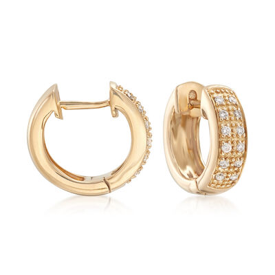 14kt Yellow Gold Huggie Hoop Earrings with Diamond Accents , , default