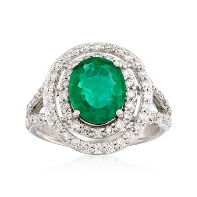 2.20 Carat Emerald and .91 ct. t.w. Diamond Double Halo Ring in 14kt White Gold, , default