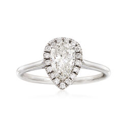 Majestic Collection 1.01 Carat Pear Diamond and .13 ct. t.w. Diamond Halo Ring in 18kt White Gold, , default