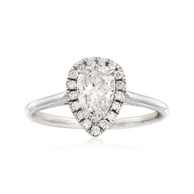 1.01 Carat Pear Diamond and .13 ct. t.w. Diamond Halo Ring in 18kt White Gold, , default
