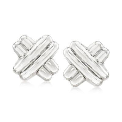 Sterling Silver X Clip-On Earrings