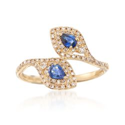 .40 ct. t.w. Sapphire and .32 ct. t.w. Diamond Bypass Ring in 18kt Yellow Gold, , default