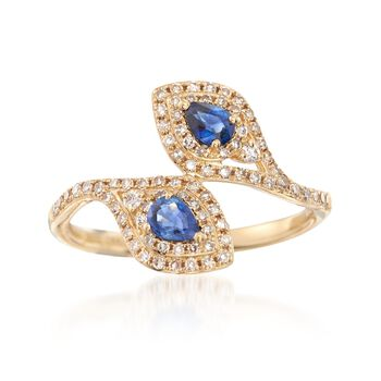 .40 ct. t.w. Sapphire and .32 ct. t.w. Diamond Bypass Ring in 18kt Yellow Gold. Size 8, , default