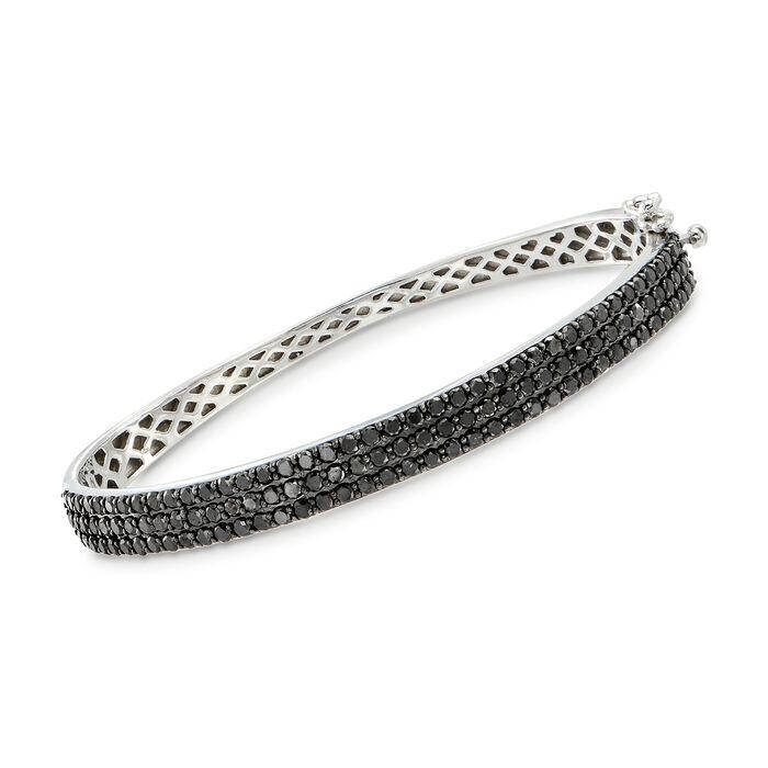 3.00 ct. t.w. Black Diamond Bangle Bracelet in Sterling Silver, , default