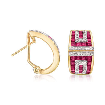 4.30 ct. t.w. Ruby and .40 ct. t.w. Diamond Earrings in 18kt Yellow Gold, , default
