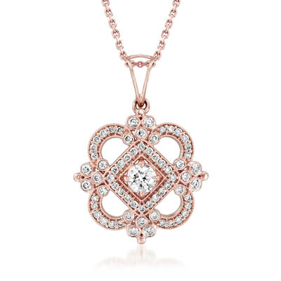 C. 2000 Vintage Tresorra .81 ct. t.w. Diamond Pendant Necklace in 18kt Rose Gold