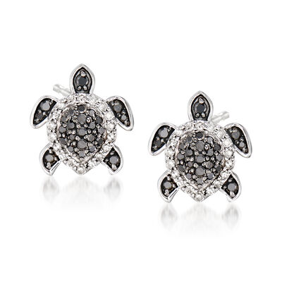 .33 ct. t.w. Black and White Diamond Turtle Earrings in Sterling Silver, , default