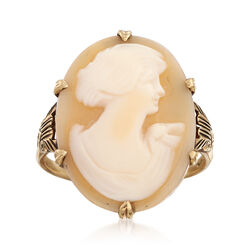 C. 1930 Vintage Carved Shell Cameo Ring in 10kt Yellow Gold. Size 8, , default