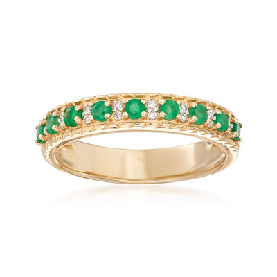 .20 ct. t.w. Emerald Ring with Diamond Accents in 14kt Yellow Gold, , default