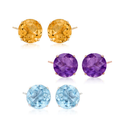Tri-Colored Gold Jewelry Set: Three Pairs of Gemstone Stud Earrings, , default