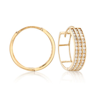 .65 ct. t.w. CZ Three-Row Hoop Earrings in 14kt Yellow Gold