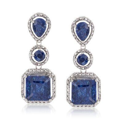 11.30 ct. t.w. Sapphire Drop Earrings in Sterling Silver
