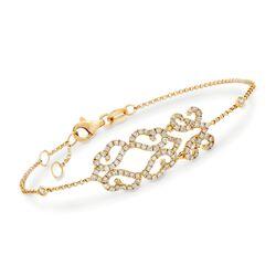 .77 ct. t.w. Diamond Openwork Bracelet in 18kt Yellow Gold, , default