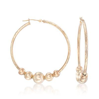 14kt Yellow Gold Beaded Hoop Earrings, , default