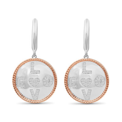 ".25 ct. t.w. Diamond ""Love"" Circle Drop Earrings in Two-Tone Sterling, , default"
