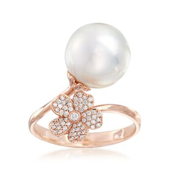 """Mikimoto """"Cherry Blossom"""" 11mm A+ South Sea Pearl and .14 ct. t.w. Diamond Floral Bypass Ring in 18kt Rose Gold, , default"""