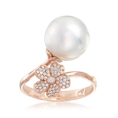 "Mikimoto ""Cherry Blossom"" 11mm A+ South Sea Pearl and .14 ct. t.w. Diamond Floral Bypass Ring in 18kt Rose Gold, , default"