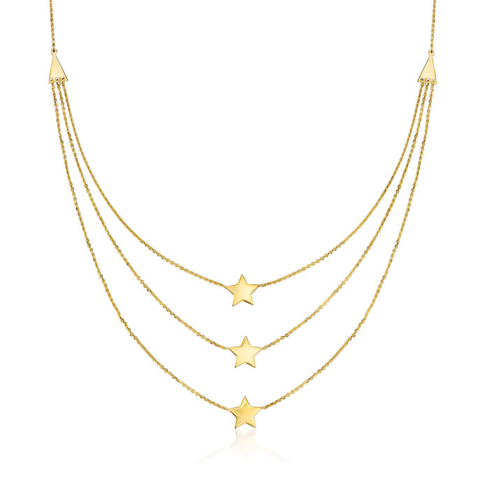 14kt Yellow Gold Triple-Strand Star Necklace