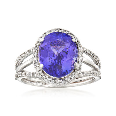 5.03 Carat Tanzanite and .37 ct. t.w. Diamond Ring in 14kt White Gold, , default