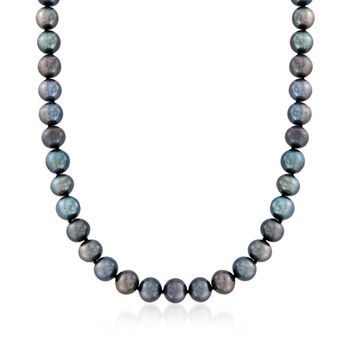 8-9mm Black Cultured Pearl Necklace With 14kt White Gold, , default