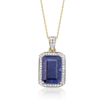 6.50 Carat Sapphire and .24 ct. t.w. Diamond Pendant Necklace in 14kt Yellow Gold