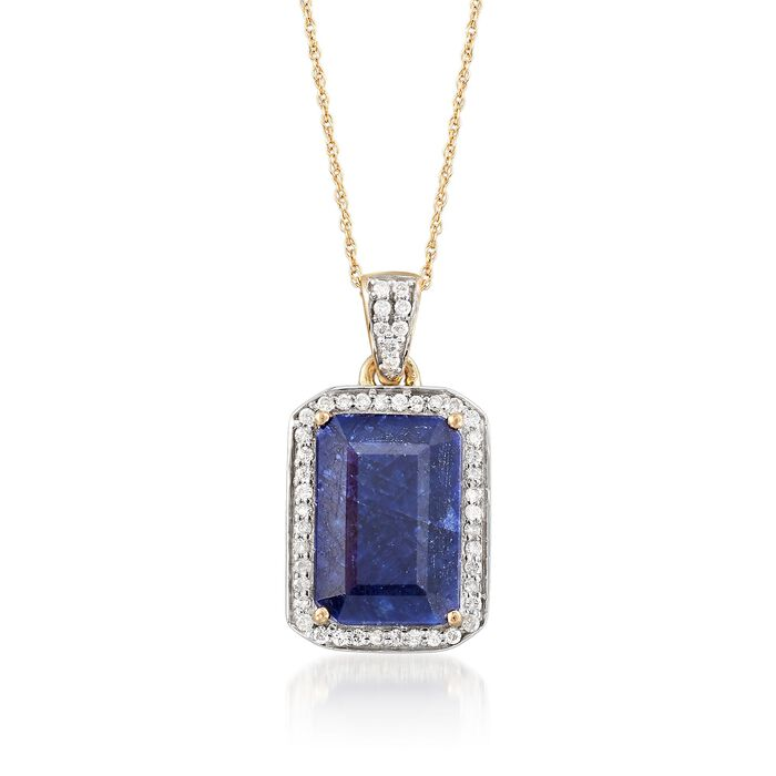 """6.50 Carat Sapphire and .24 ct. t.w. Diamond Pendant Necklace in 14kt Yellow Gold. 20"""""""
