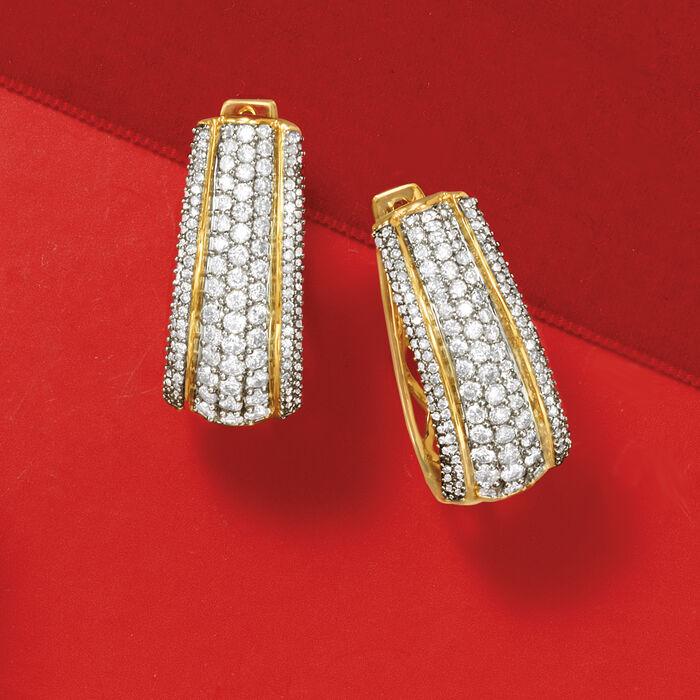 1.50 ct. t.w. Diamond Oval Hoop Earrings in 14kt Yellow Gold