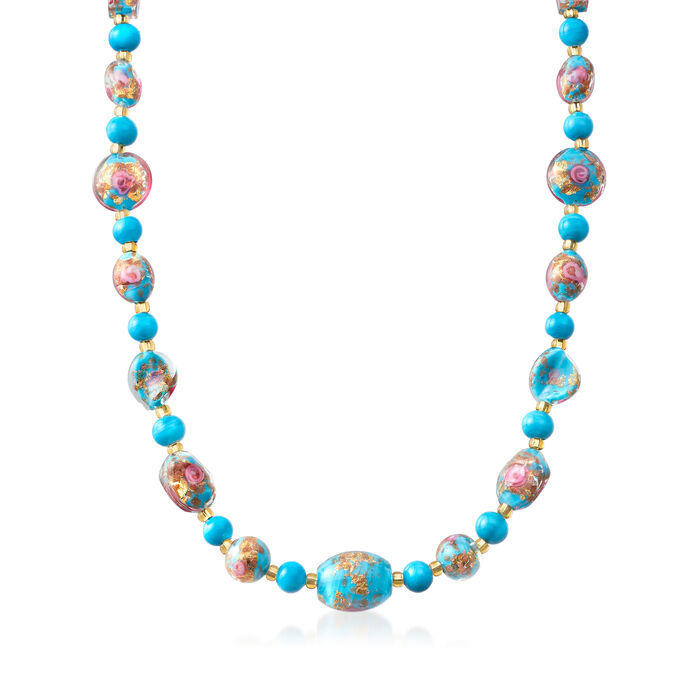 Italian Multicolored Murano Glass Bead Necklace with 18kt Yellow Gold Over Sterling Silver