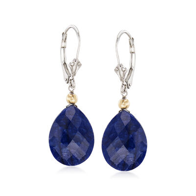 18.00 ct. t.w. Opaque Sapphire Drop Earrings in Sterling Silver and 14kt Yellow Gold, , default