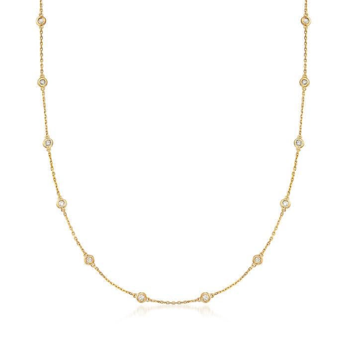 1.00 ct. t.w. Bezel-Set Diamond Station Necklace in 18kt Gold Over Sterling