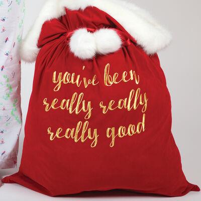 Red Velvet Santa Bag, , default