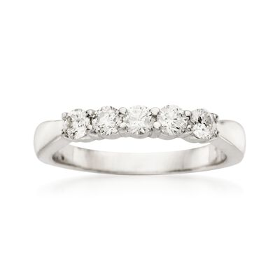 .50 ct. t.w. 5-Stone Diamond Wedding Ring in 14kt White Gold