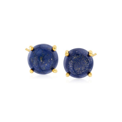 8mm Lapis Stud Earrings in 14kt Gold Over Sterling