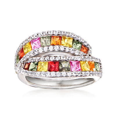 2.00 ct. t.w. Multicolored Sapphire and .90 ct. t.w. White Zircon Ring in Sterling Silver