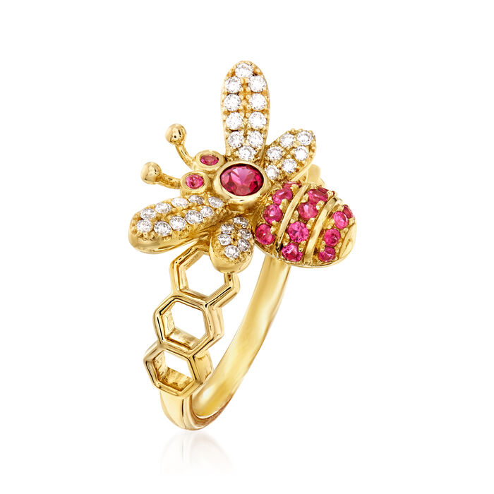 .30 ct. t.w. Ruby and .23 ct. t.w. Diamond Bumble Bee Ring in 14kt Yellow Gold