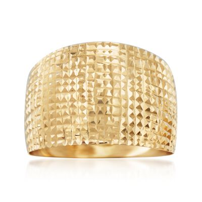 Italian Diamond-Cut 18kt Yellow Gold Wide Ring, , default