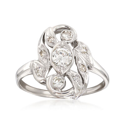 C. 1950 Vintage .55 ct. t.w. Diamond Cluster Ring in 14kt White Gold, , default