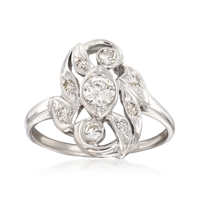 C. 1950 Vintage .55 ct. t.w. Diamond Cluster Ring in 14kt White Gold. Size 8, , default