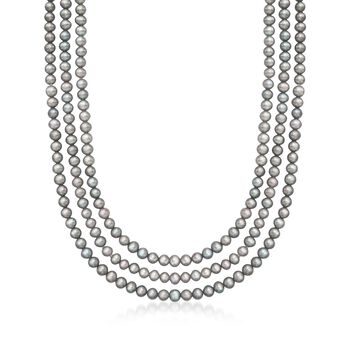 "5-5.5mm Gray Cultured Pearl Endless Necklace. 80"", , default"