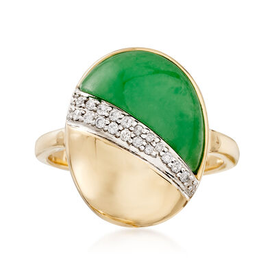 Green Jade and .12 ct. t.w. Diamond Ring in 14kt Yellow Gold, , default