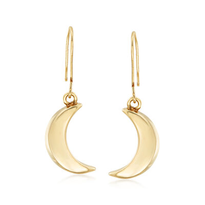 Italian 14kt Yellow Gold Moon Drop Earrings, , default