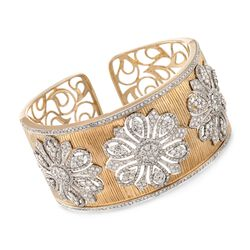 "7.85 ct. t.w. Diamond Floral Wide Cuff Bracelet in 18kt Yellow Gold. 6"", , default"