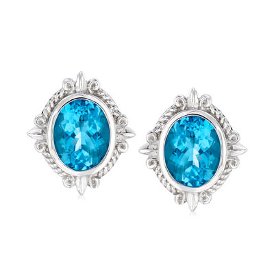 "Andrea Candela ""Fleur De Lis"" 7.27 ct. t.w. Swiss Blue Topaz Earrings in Sterling Silver"