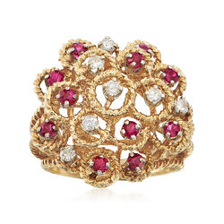 C. 1970 Vintage .65 ct. t.w. Ruby and .30 ct. t.w. Diamond Cluster Ring in 14kt Yellow Gold, , default
