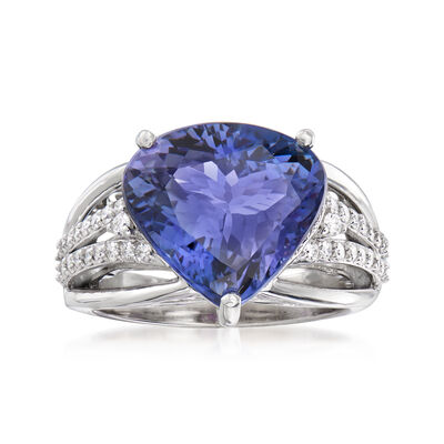 8.00 Carat Tanzanite and .35 ct. t.w. Diamond Ring in 18kt White Gold